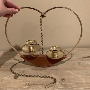 Vintage heart hanging candle stick holder